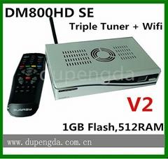white color V2 sunray4 dm800hd se with triple tuner sim2.2 E mainboard wifi