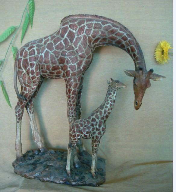 汉博酒店会所家居别墅公园花园玻璃钢树脂动物长颈鹿雕塑犀牛塑像