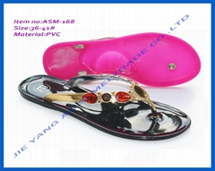 Plastic jelly fancy china flat heels slippers women