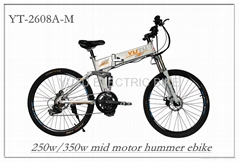 "buy 26"" aluminium alloy hummer electric folding bike with 8FUN mid motor"
