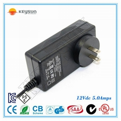 US Plug Input 100-240V Output 12V 5A Power Adapter