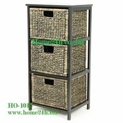 Handmade Water Hyacinth Cabinets - 3 Storage Drawers