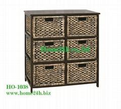 Handmade Best selling Water Hyacinth Cabinets,  6 Storage Drawers
