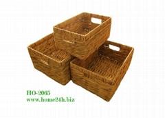 Home basket Best selling Water Hyacinth Storage Basket S/3