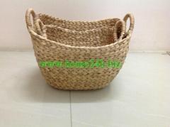 Handmade Vietnam crafts Water Hyacinth Natural Unframe Baskets s/3