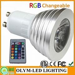 3 Year Warranty IR Remote Control E27 MR16 GU10 3W 4W RGB LED Spotlight