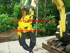Hydraulic stone grapple for excavators