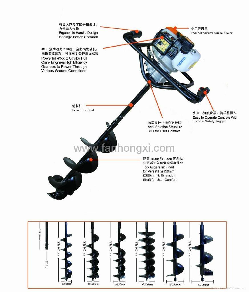 园林种植专用打洞机 高效率松土施肥器 螺旋杆钻头移栽机 3