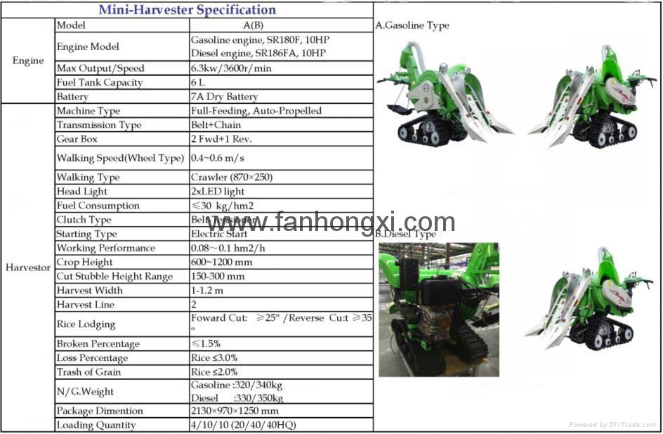 Rice harvest agricultural harvest machine