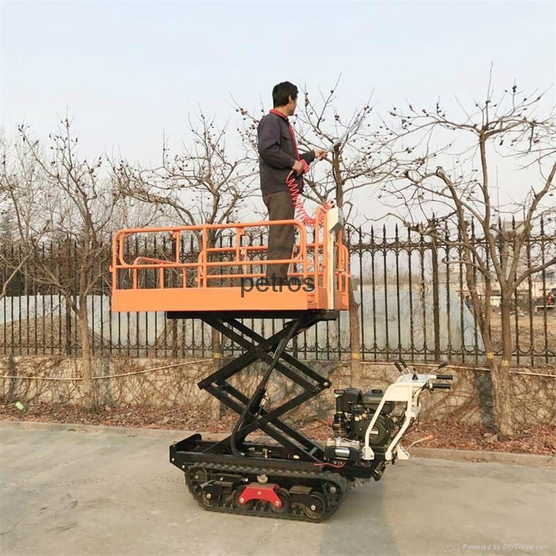 Crawler type dumper with lift container, Hydraulic Scissor lifter 2