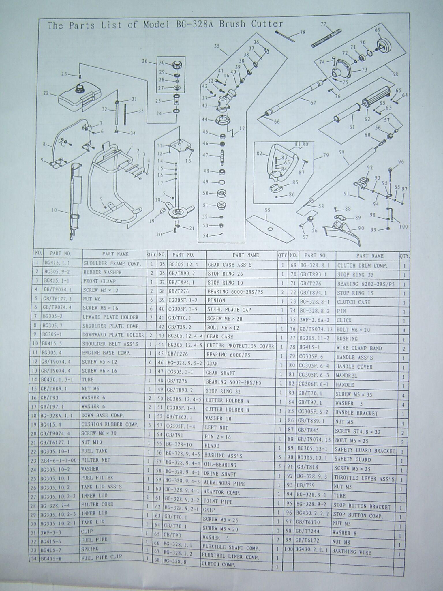 2 stroke engine  Brush Cutter BG328 4