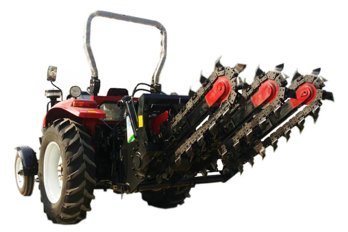 农用拖拉机带动开沟回填机 2