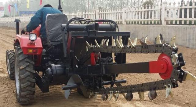 农用拖拉机带动开沟回填机 13