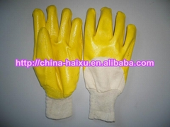 interlock cotton yellow nitrile working glove