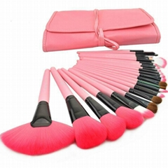 25 pcs professional make up brush set with synthetic hair leather bag packing