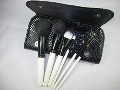 7 pcs synthetic hair make up brush gift set with leather bag