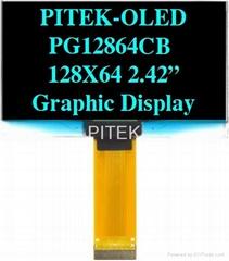 "PG12864CW/Y/G/B 2.42"" 128x64 Graphic OLED Display Module"