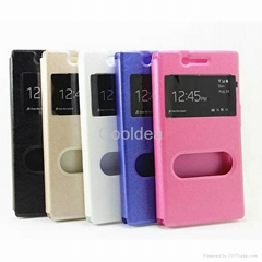 For Samsung S6/S5/S4 Sony M2 pattern silk double windows Case Housing
