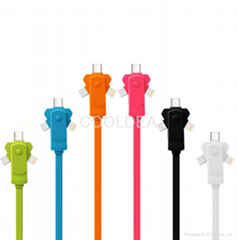 Apple Micro Android Type-C Multi-Function Three-in-One Rotating Charging Cable