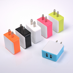2.4A Dual USB Color Generic Wall Power Charger