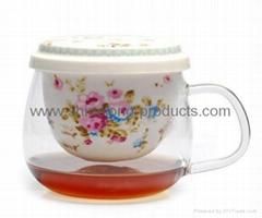 Glass mug with ceramic filter for Flower tea