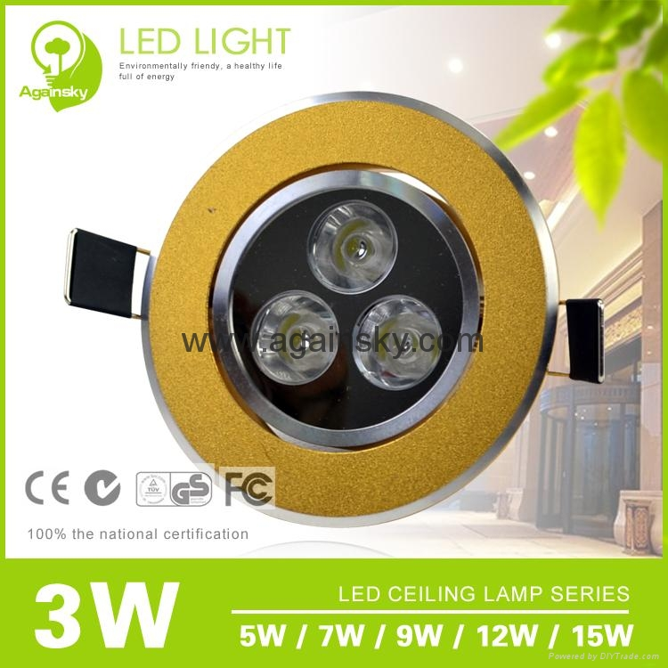 3W Golden Ultra-thin Recessed LED Ceiling Lamp 1