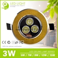 3W Golden Ultra-thin Recessed LED Ceiling Lamp 2