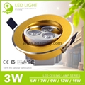 3W Golden Ultra-thin Recessed LED Ceiling Lamp 4