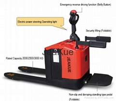 Factory Price 3.0T Electronic Steering Stand-on Full Electric Folding Pallet Tru