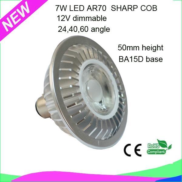 50mm height 7W BA15D 12V dimmable LED AR70 spotlight  with SHARP COB 5