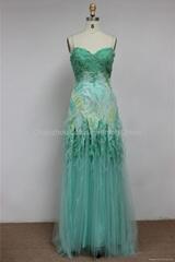 K2003 Sweetheart Beaded Long Chiffon Tulle Prom Dress
