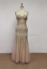 K2009  Sleeveless Sweetheart Beaded Chiffon Tulle Floor Length Evening Dress