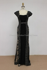 K2012 New Arrival Beaded Bateau Neckline Cap Sleeves Lace Tulle Evening Dress