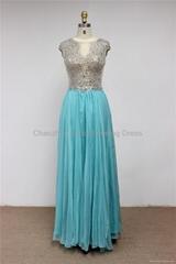 K2013 Luxury Beaded Bateau Neckline Cap Sleeves Chiffon Tulle Evening Dress