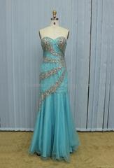 K2017 Sexy Beaded Sheer Strapless Sweetheart Chiffon Long Evening Dress