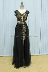 K2018 Beaded Sheer Lace Cap Sleeves V-neckline Chiffon Formal Evening Dress