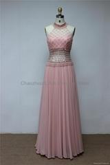 K2021 Sexy Elegant Backless Beaded Chiffon Lace Evening Dress