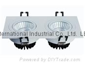 Double-head cob led venture lamp square 2*7w CREE COB grille spotlight