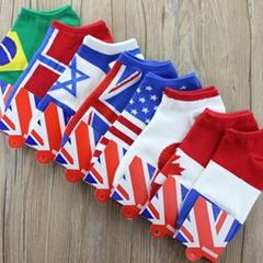 MS002  世界杯國旗全棉男襪