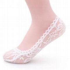 WS002 春夏玫瑰花蕾丝花边隐形袜子