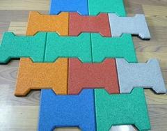 Dog-bone shape anti-slip rubber tiles