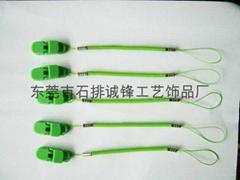 帶膠頭塑料手寫台筆挂繩 。