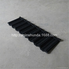 black stone coated lightweight steel roofing tile