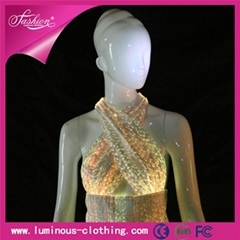 2015 FASHION ladies tops fiber optical show clothes with led ceiling light