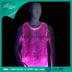 2014 latest fiber optic clothing rgb colorful lighting t shirt great effect