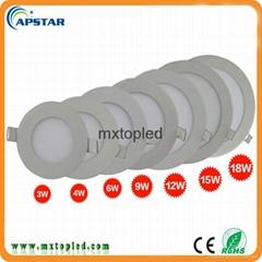 Shenzhen factory Indoor ultra thin flat round 15w led panel light