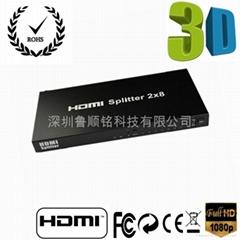 高品高清HDMI分配器二进八出