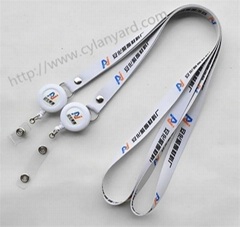 full color print badge lanyard with retractable reel