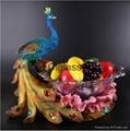欧式创意孔雀大号水晶玻璃水果盘  1