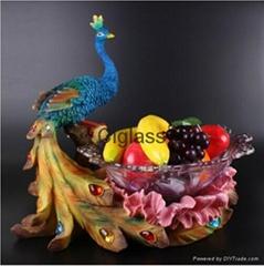 欧式创意孔雀大号水晶玻璃水果盘
